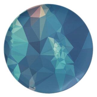 球の青の抽象芸術の低い多角形の背景 プレート