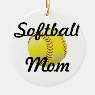 球を持つソフトボールのお母さん セラミックオーナメント