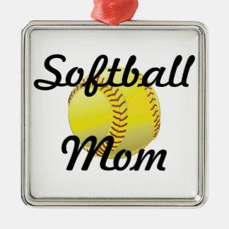 球を持つソフトボールのお母さん メタルオーナメント