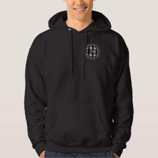 球体のクロム黒の円形のスエットシャツのポケット及び背部 パーカ