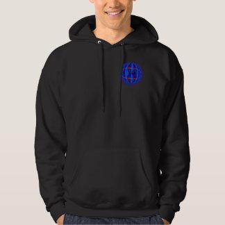 球体の濃紺の円形のスエットシャツのポケット及び背部 パーカ