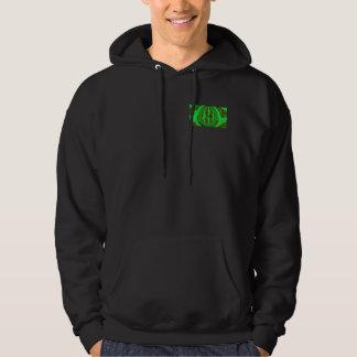 球体の緑のフード付きのスエットシャツのポケット及び背部 パーカ
