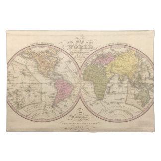 球状投射2の世界の地図 ランチョンマット