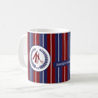 理容師のサロンの赤い海軍白くストライプのなモダン コーヒーマグカップ