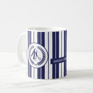 理容師のサロン海軍白くストライプのなモダン コーヒーマグカップ