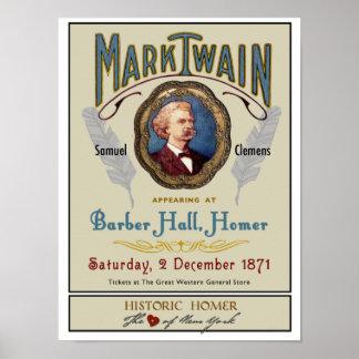 理容師のホール歴史的なホーマーNYのポスターのマーク・トウェイン ポスター
