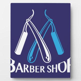理髪店のロゴアイコンベクトル フォトプラーク