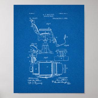理髪店の椅子のパテント-青写真 ポスター
