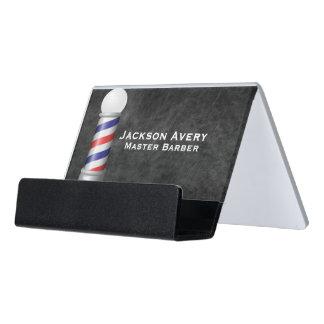 理髪店の理容師のポーランド人の革 デスク名刺ホルダー