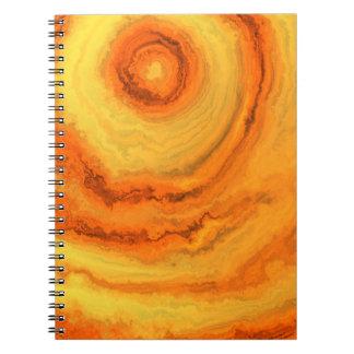 瑪瑙のオレンジ及び金ゴールド ノートブック