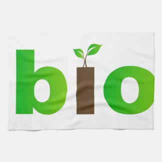 環境にやさしい概念の生物文字の記号 キッチンタオル