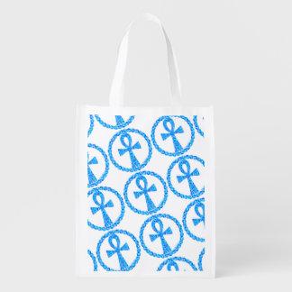 環境にやさしいAnkh青い古代エジプトWiccaパターン エコバッグ