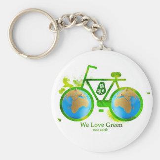環境の環境に優しい緑のバイクのキーホルダー キーホルダー