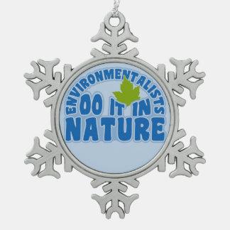 環境主義者のカスタムなオーナメント スノーフレークピューターオーナメント