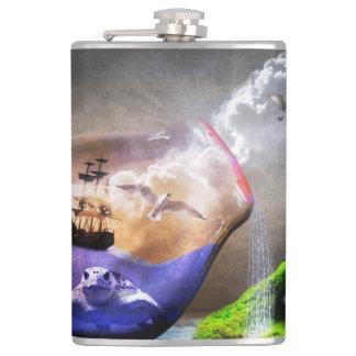 環境保護のウミガメ及び船の写真 フラスク