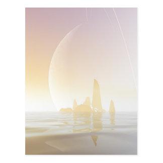 環状の惑星の下のクールな海 ポストカード