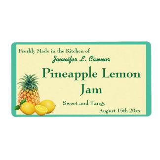 瓶を缶詰にするパイナップルレモン込み合いジャム ラベル