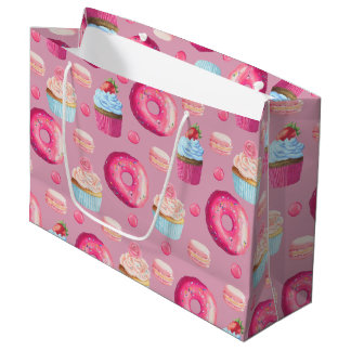 甘いいちごのピンクの御馳走 ラージペーパーバッグ