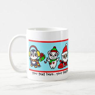 甘いかわいいのクリスマスのキャラクターパターン コーヒーマグカップ