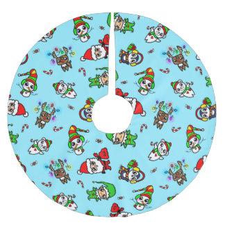 甘いかわいいのクリスマスのキャラクターパターン ブラッシュドポリエステルツリースカート