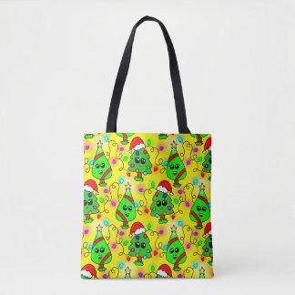 甘いかわいいのクリスマスツリーパターン トートバッグ