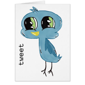 甘いさえずりの青い鳥のメッセージカード カード