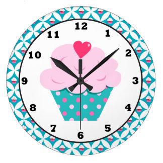 甘いカップケーキのおもしろいの柱時計 ラージ壁時計