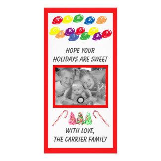 甘いキャンデーのクリスマス-写真カード カード