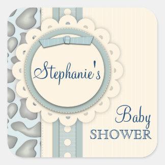 甘いキリンのスクラップブックのベビーシャワーのステッカー|の青 スクエアシール
