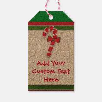 甘いクリスマスのキャンディ・ケーンのラベルへの菓子 ギフトタグ