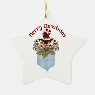 甘いクリスマスのパグは青を懐に入れます セラミックオーナメント