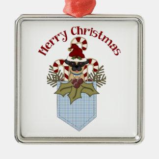 甘いクリスマスのパグは青を懐に入れます メタルオーナメント