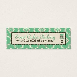 甘いケーキの細い名刺のティール(緑がかった色) スキニー名刺