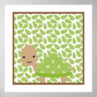 甘いサファリの小さいカメの子供部屋の壁の芸術 ポスター