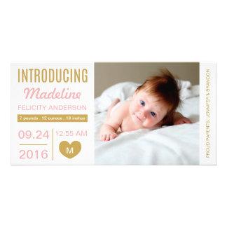 甘いシンプルの誕生の発表の写真カード カスタマイズ写真カード