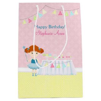 甘いバレリーナのカップケーキのお祝い ミディアムペーパーバッグ