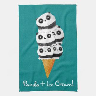甘いパンダくまのアイスクリームコーン キッチンタオル