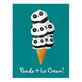 甘いパンダくまのアイスクリームコーン ポストカード