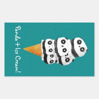 甘いパンダくまのアイスクリームコーン 長方形シール