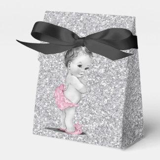 甘いピンクおよび灰色のベビーシャワーの好意箱 フェイバーボックス