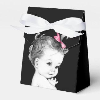 甘いピンクおよび黒いベビーシャワーの好意箱 フェイバーボックス