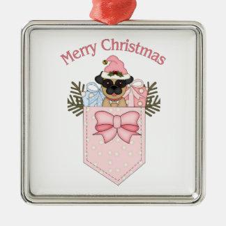 甘いピンクのクリスマスのパグのポケット メタルオーナメント
