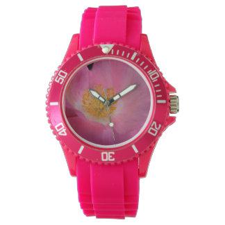 甘いピンクのケシのハート 腕時計