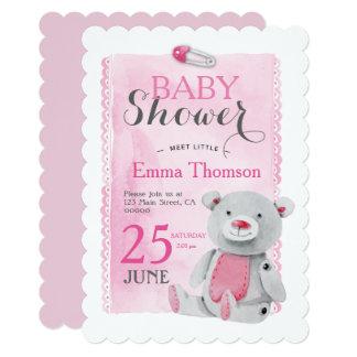 甘いピンクのテディー・ベアの女の子のベビーシャワー 12.7 X 17.8 インビテーションカード
