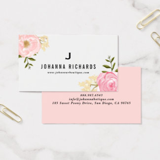 甘いピンクの水彩画のシャクヤクの花柄のモノグラム 名刺