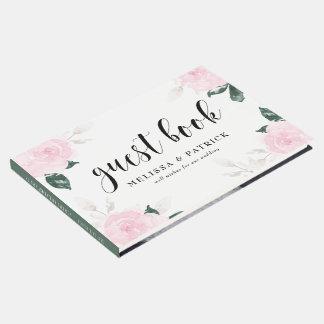 甘いピンクの水彩画のバラの結婚 ゲストブック