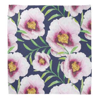 甘いピンクの青ケシのヴィンテージの花柄パターン バンダナ