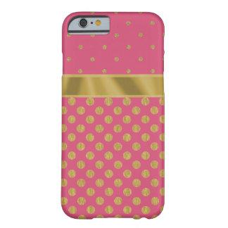 甘いピンクまたは金ゴールドのグリッターの水玉模様のIPhone6ケース iPhone 6 ベアリーゼアケース