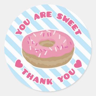 甘いピンクドーナツ感謝していしていますステッカーです ラウンドシール