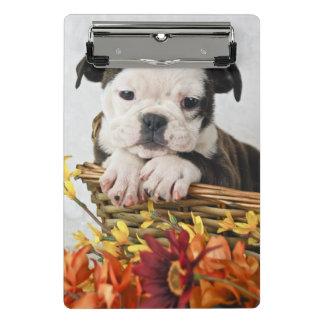 甘いブルドッグの子犬 ミニクリップボード